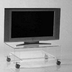 Tavolino Porta TV con ruote 75x52xh31 cm VERVE struttura in metacrilato trasparente e dettagli in metallo cromato Trasparente