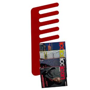 Porta Riviste da parete Pettine 38xh98x3 cm cm in metacrilato Emporium Rosso Trasparente