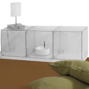 Comodino Cubo Vintage realizzato con tre cubi 2 ante e tre basi