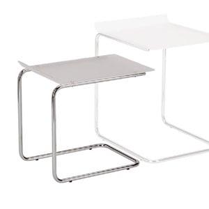 Tavolinetto Basso Duetto 49x33xh 46 cm Struttura in Metallo cromato piano in metacrilato bianco satinato