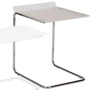 Tavolino alto Duetto 49x41xh 55 cm Struttura in Metallo cromato piano in metacrilato Bianco satinato