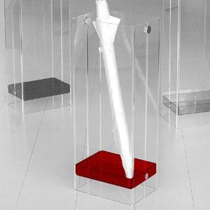 Portaombrelli in metacrialto trasparente 21x28xh65 cm IKEDA con vaschettta raccogli acqua removibile Rosso