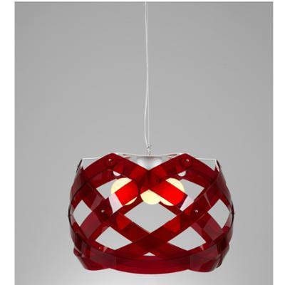 Lampadario a sospensione NUCLEA Grande diametro 67 Rosso Trasparente
