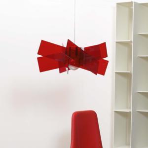 Lampadario a sospensione Ø53xh24.5 cm KARTIKA Piccola supporto in metallo in metacrilato Rosso
