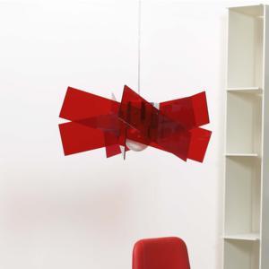 Lampadario a sospensione Ø69xh38 cm KARTIKA BIG supporto in metallo in metacrilato Rosso