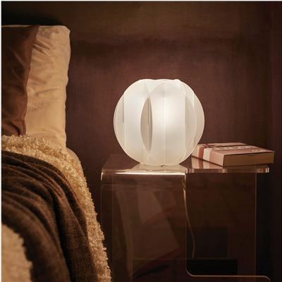 Lampada da tavolo in metacrilato ALLEGRETTA Ø22 cm bianco satinato
