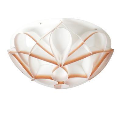 Plafoniera 4 luci con calotta PMMA -GEMMA Ø70xh22 cm bianco perla sfumature rosse