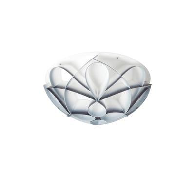 Plafoniera 4 luci con calotta Gin PMMA -GEMMA Ø70xh22 cm bianco perla sfumature grigio