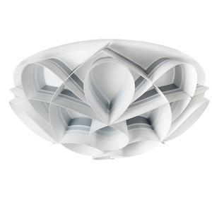Plafoniera 3 luci con calotta GEMMA Ø51xh20 cm bianco perla decori grigio nuance