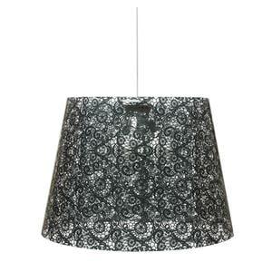Sospensione con paralume conico in policarbonato PIXI PIZZO Ø 66xh 63 cm con paralume conico 3 luci texture pizzo nero