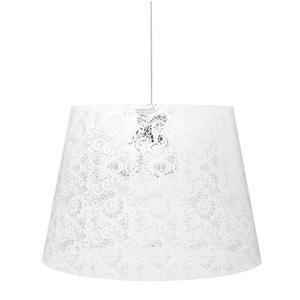 Sospensione con paralume conico in policarbonato PIXI PIZZO Ø 42xh 36 cm con paralume conico 1/2 luci texture pizzo bianco