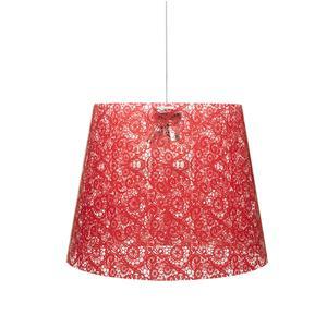 Sospensione con paralume conico in policarbonato PIXI PIZZO Ø 42xh 36 cm con paralume conico 1/2 luci texture pizzo rosso