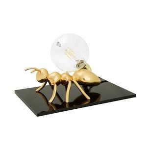 Lampada da tavolo Antlante 40x40xh20 cm soggetto formica in resina oro