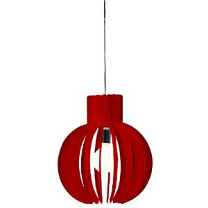 Lampadario a sospensione diametro 35 PAPALLA Piccola Rosso Trasparente