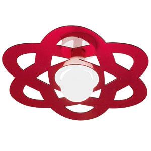 Plafoniera da soffitto diametro 45xh19.5 cm Nucly Emporium in metacrilato colorato 1xE27 max 30W Rosso Trasparente