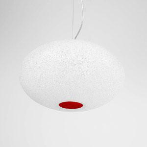 Lampadario a sospensione diametro 32xh22 cm Scintilla Piccola 1xE27 max 30W Rosso Trasparente
