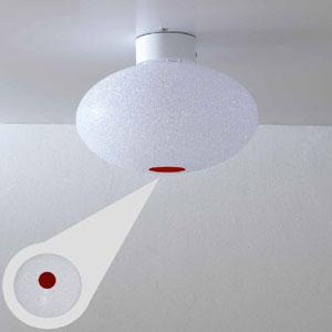 Plafoniera da soffitto diametro 32xh22 cm piccola Scintilla in policarbonato granulare 1xE27 max 30W Rosso Trasparente