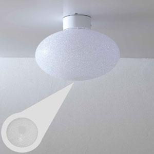Plafoniera da soffitto diametro 58xh32 cm grande in policarbonato granulare Scintilla 1xE27 max 30W Bianco Satinato