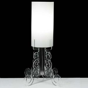 Lampada da tavolo 27x27xh60 cm TRUCIOLO grande lampadine Attacco 1xE27 Max 30W Trasparente
