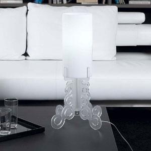 Lampada da tavolo 27x27xh60 cm TRUCIOLO grande lampadine Attacco 1xE27 Max 30W Bianco Satinato