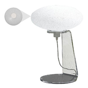 Lampada da tavolo 32x32xh47 cm SCILLA struttura in metacrilato trasparente 1xE27 max 25W Bianco Satinato