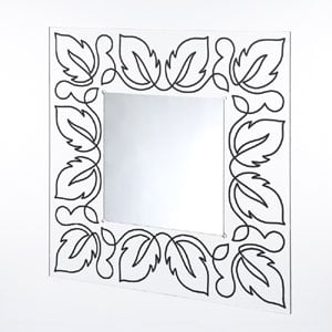 Specchio da muro 80xh80 cm FLORA spessore metacrilato 10 mm quadrato Nero
