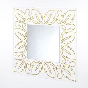 Specchio da muro 80xh80 cm FLORA spessore metacrilato 10 mm quadrato Oro