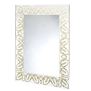 Specchio da muro 75xh100 cm FLORA spessore metacrilato 10 mm rettangolare Oro