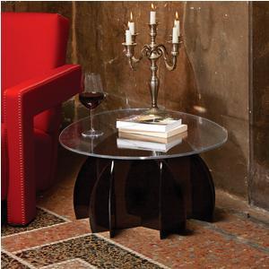 Tavolino Ovale basso Atlante 77x60xh33 cm piano in metacrilato trasparente , base Nera