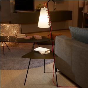Tavolino con lampada CHIARA 53x45xh122 cm Struttura in metallo verniciato NERO