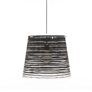 Lampadario a sospensione diametro 30xh27 cm PIXI piccolo diametro 30cm paralume conico in policarbonato Nero
