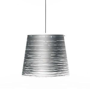 Lampadario a sospensione diametro 30xh27 cm PIXI piccolo diametro 30cm paralume conico in policarbonato Argento