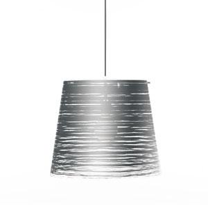 Lampadario a sospensione diametro 42xh36 cm PIXI grande paralume conico in policarbonato Argento