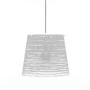 Lampadario a sospensione diametro 42xh36 cm PIXI grande paralume conico in policarbonato Bianco