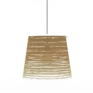 Lampadario a sospensione diametro 42xh36 cm PIXI grande paralume conico in policarbonato Oro