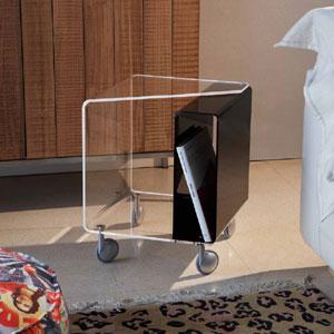 Carrellino Tavolino da notte 40x40h47 cm AMORETTO con tasca laterale per riviste - Portata max: 15 kg Nero