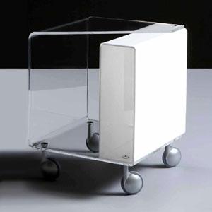 Carrellino Tavolino da notte 40x40h47 cm AMORETTO con tasca laterale per riviste - Portata max: 15 kg Bianco