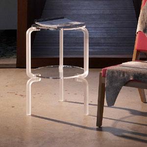 Tavolino tondo basso diametro 40xh60 cm FINNY 3 - in metacrilato bianco satinato Portata max: 30 kg