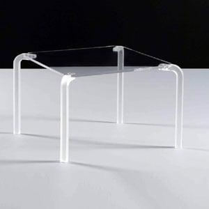 Tavolino quadrato basso 46x46xh33 cm FINNY 4 - in metacrilato trasparente Portata max: 15 kg