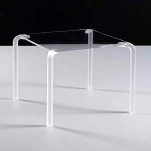 Tavolino quadrato basso 50x50xh42 cm FINNY 5 - in metacrilato trasparente Portata max: 15 kg