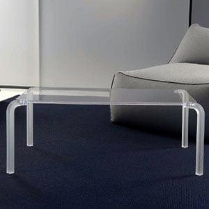 Tavolino rettangolare basso 83x50xh33 cm FINNY 6 - in metacrilato trasparente Portata max: 15 kg