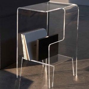 Tavolino multifunzione 40x33xh60 cm GLOVE DX tavolino. Comodino.Portariviste Portata max: 30 kg separatore Nero