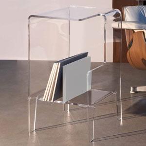 Tavolino multifunzione 40x33xh60 cm GLOVE DX tavolino. Comodino.Portariviste Portata max: 30 kg separatore Bianco