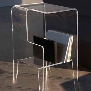 Tavolino multifunzioni 40x33xh60 cm GLOVE SX tavolino. Comodino.Portariviste Portata max: 30 kg separatore Nero
