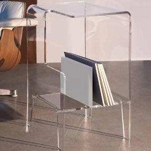 Tavolino multifunzioni 40x33xh60 cm GLOVE SX tavolino. Comodino.Portariviste Portata max: 30 kg separatore Bianco