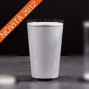 Portabiancheria 38x28xh60 cm in policarbonato sabbiato coperchio in due colori BATISTA Bianco