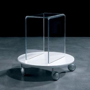 Portariviste Tavolino multifunzione 50x50xh52 4 ruote L'elemento circolare in legno laccato con finitura antigraffio GIRINO Bianco