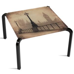 Tavolino Quadrato Stampato Londra 50x50xh33 cm in metacrilato 100% riciclabile