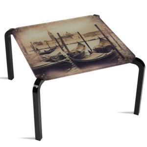 Tavolino Quadrato Stampato Venezia 50x50xh33 cm in metacrilato 100% riciclabile
