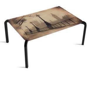 Tavolino Rettangolare Stampato Londra 75x50xh33 cm in metacrilato 100% riciclabile